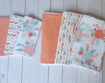 Coral and Mint Baby Gift Set- matching burpcloth and washcloth, baby girl gift, burp cloths girl, baby washcloths, baby shower gift girl