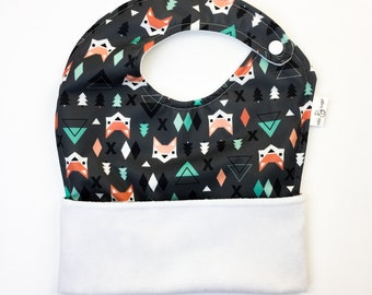 The Ultimate Meal Bib: Waterproof Pocket Bib for Toddlers, Side Snap - Geometric Foxes, Woodland, Gender Neutral, Boy, Fold-up Bib, apron