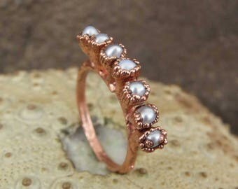 River pearl ring | White pearl copper ring | Pearl electroformed ring