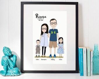 CUSTOM ILLUSTRATION PORTRAIT,family portrait,personalized gift anniversary,housewarming,birthday,wall art,drawing,digital download