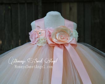 Flower girl tutu dress. Peach and ivory tutu dress. Flower girl dress. Birthday tutu dress. Pageant tutu. More colors available.