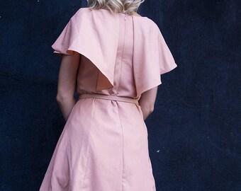 Mayra Peach Vintage Cape Dress w/ belt