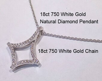 18ct 750 White Gold Natural Diamond Pendant and 18ct White Gold Trace Link Chain - DJ2 / PS102