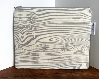 Gray and White Faux Bois Zipper Bag with Floral Lining, Zipper Pouch, Gray Zipper, Wood Grain