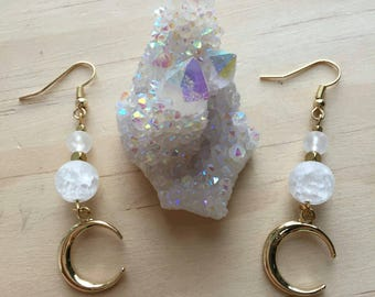 Gold Moon Crackle Glass Dangle Earrings