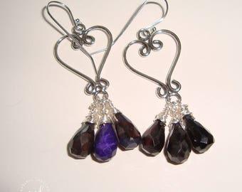 Sterling Silver Heart Shaped Chandelier and AA Grade Dark Purple Sugilite Dangle Earrings