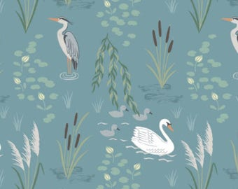 Swan and Heron On Teal from Down By The River by Lewis & Irene