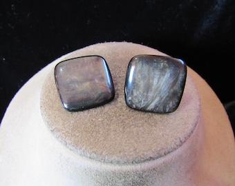 Vintage Pair Of Black & Gray Shaded Clip Earrings