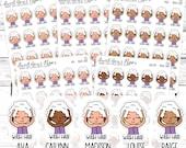 Wash Hair Planner Stickers - Shower Planner Stickers - Beauty Planner Stickers - Character Stickers - 1722 - 1723 - 1724 - 1725 - 1726