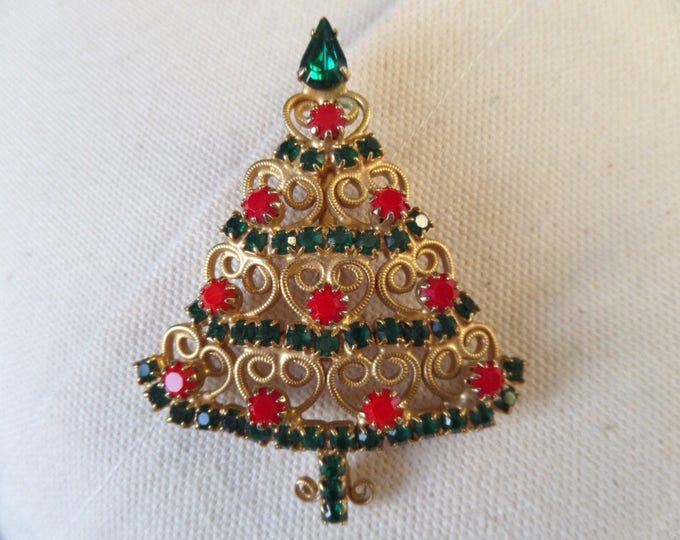 FREE SHIPPING Christmas Tree Brooch, Costume Jewellery Circa 1950, Gold Plated Metal, Emerald Green Rhinestone, Opaque Red Stones Immaculate