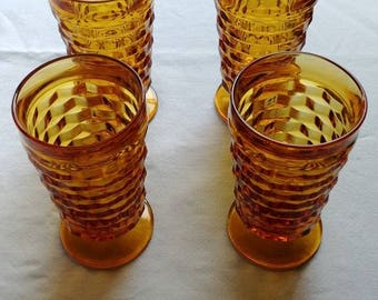 Indiana Glass Set of 4 Whitehall Amber drinking glasses