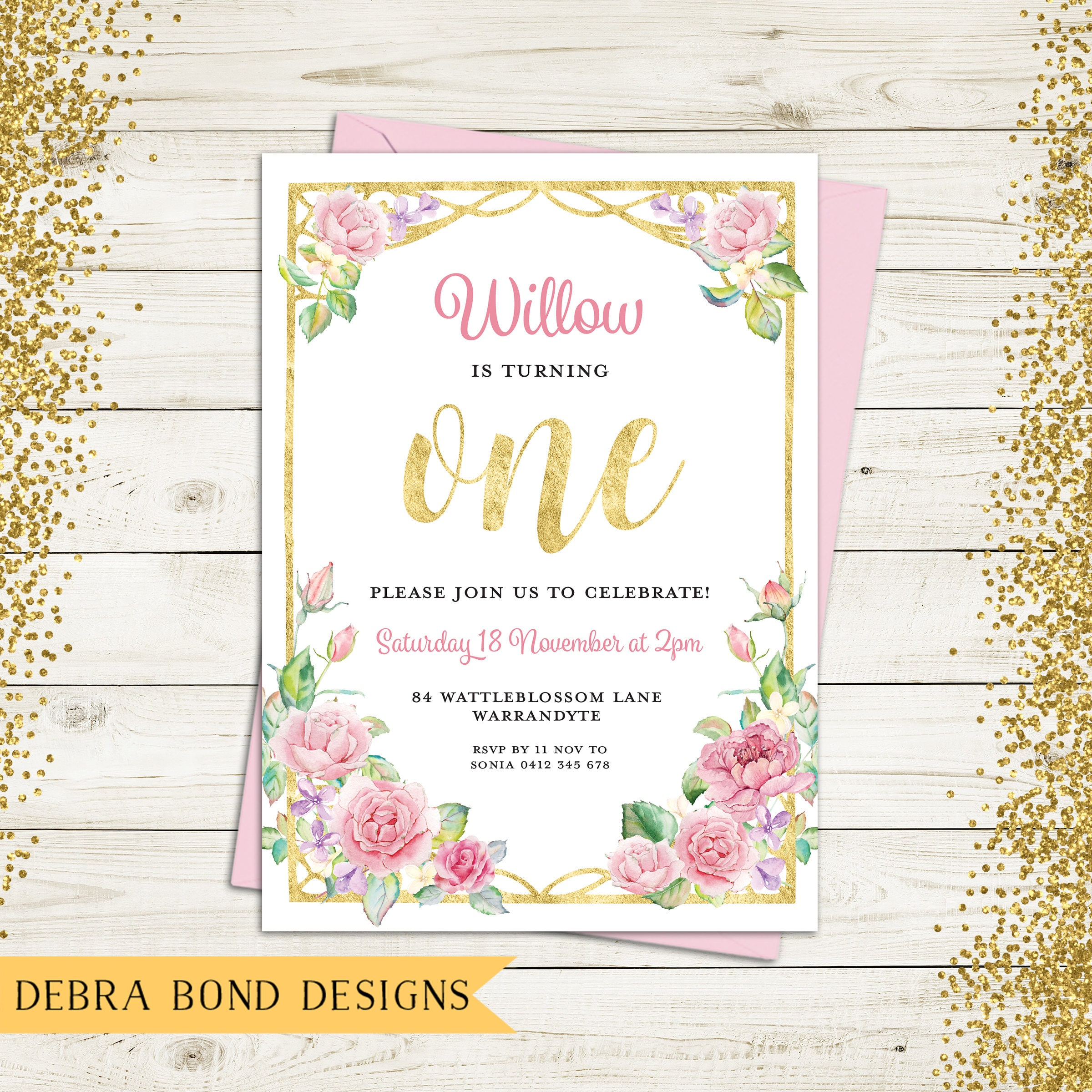 Birthday invitation girl, first birthday invitation, digital ...