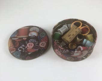 Sewing Kit, Vintage Mending Travel Kit, Button Sewing Tin, Needles, Thread, Scissors, Tape Measure, Needle Threader, Thimble, Safety Pins