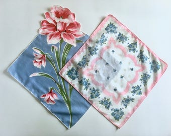 Vintage Handkerchiefs, 2 Floral Print Hankies, Blue, Pink, Gift for Bride, Something Old, Something Blue, Vintage Wedding