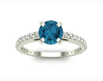 Fancy Blue Diamond Engagement Ring, Certified Handmade, Ocean Blue Diamond, mothers ring gold, Ocean Blue Diamond Rings, JewelrNest