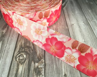 Flower ribbon - Pink flowers - Grosgrain ribbon - Hair bow ribbon - Craft supply - By the yard - Floral ribbon - Pretty flowers - Crafting