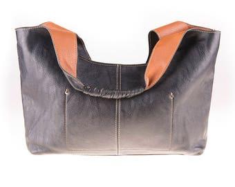 Black/Cognac/Brown 90's Leather Shoulder Bag, Handbag