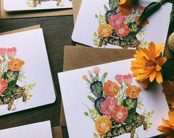 The Tortiose With A Cactus Garden Notecards