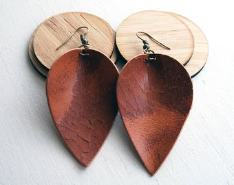 Cracked leather teardrop leaf shaped earrings / lightweight earrings / boho / 3rd anniversary gift / joanna gaines inspired