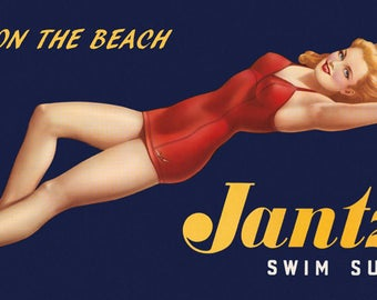 Fashion Blond Beauty on the Beach Jantzen Swim Suits Vintage Poster Repro FREE SHIPPING in USA