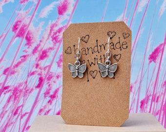 Butterfly Earrings, Small Butterfly Charm Earrings, Butterfly Jewelry, Spring Earrings, Silver Charm Earrings