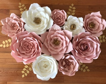 10 pc Paper Flowers, nursery, toddler room, home decor, Paper Flower Decor, Customize your colors