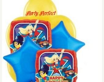 ON SALE 7 pc DC Super hero Girls, Wonder Woman, Cat Woman Balloon Bouquet