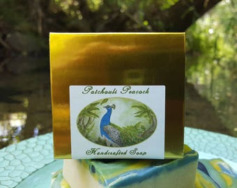 Soap - Patchouli Peacock - Cold Process Soap, Patchouli Soap, Lemongrass Soap, Lavender & Patchouli soap, Gift Soap, Gold Box Soap