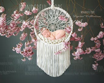 Lace and Teal Dream Catcher - Digital Backdrop - Photo Prop for Newborn Photography
