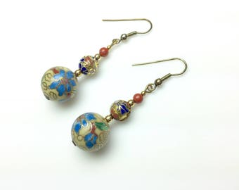 Handmade Yellow Cloisonne Dangle Earrings with Blue Flowers, Gift for Her
