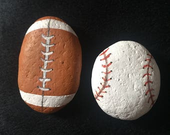 Hand Painted Football and Baseball on a Rock - sports