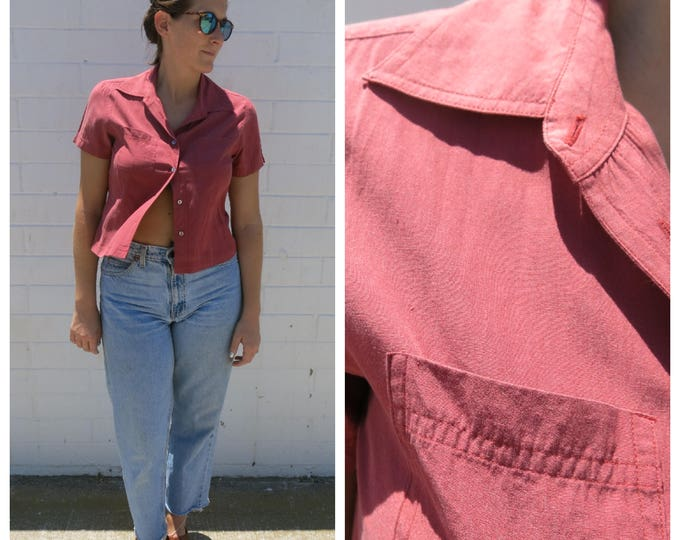Little Red Silk Button Down