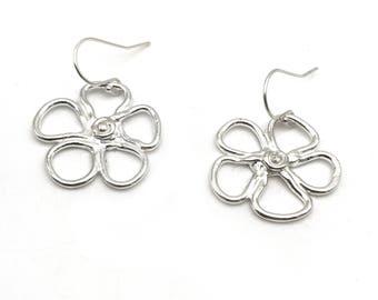 Silver Flower Earrings | Hand Drawn Earrings | Silver Clay Earrings | Dangle Jewelry | Silver Earrings | Handmade Metal Clay Jewelry