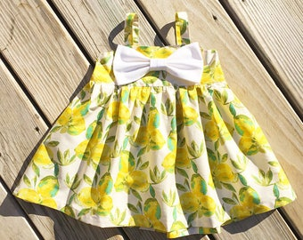 Lemonade girls birthday dress, big bow dress, toddler summer lemonade dress, newborn lemon dress, coming home outfit, gift