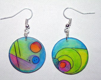 beautiful multicolored round earrings