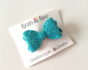 Glitter Hair Bow - Blue Glitter Bow