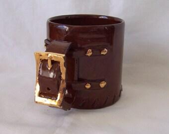 Buckle and Strap Handle Pottery Mug 1977 Vintage Studio Pottery Mug by J Ward