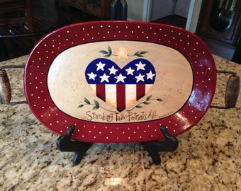 Hand Painted 4th Of July Independance Day Platter