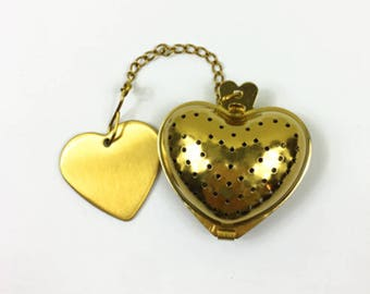 Bulk of 50 Golden Heart Shaped Tea Strainer Infusers