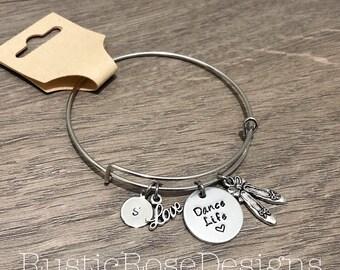Personalized stamped bangle charm bracelet / Dance Life / Dancer gift / Ballet / Dancing / Ballet slippers / love dance / team gift