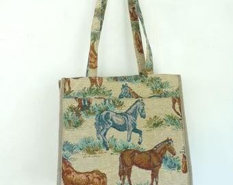 70s Canvas Horse Purse, Horse Print Tote Bag, Vintage Equestrian Purse, Double Handle Canvas Purse, 1970s Vintage Horses Purse, Horse Lover
