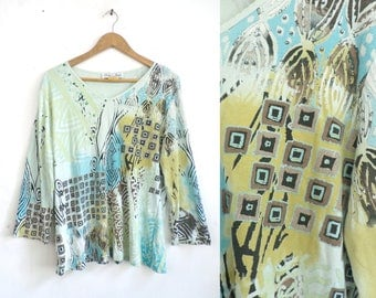 90s Abstract Top Knit Cotton V-neck Shirt Embellished Tribal Geometric Print Cropped Sleeves 90s Lightweight Womens Top XL Blue Green