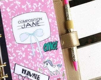 """CUSTOMIZABLE Planner Dashboard: """"90's Comp"""", 10 Mil Laminated and Punched"""