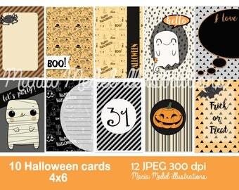 Para imprimir diario o proyecto de vida temática de Halloween tarjetas-10 tarjetas.  Descarga inmediata
