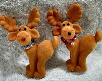 Pair Flocked Christmas Deer Ornaments