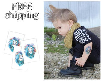 "Set of 3 tatts ""Watercolor Lion"". Colorful king of animals kids temporary tattoos. Great party bag supply. TT112"