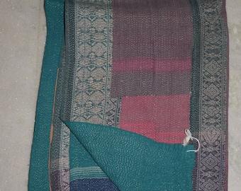 Vintage Kantha Quilt Reversible Ralli Indian Cotton Blanket Throw Bedding Gudari 2123 BY artisanofrajasthan