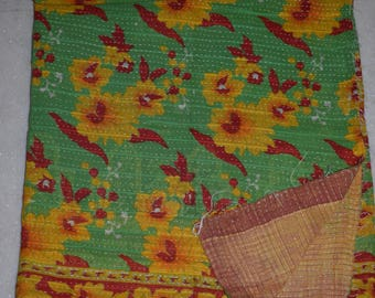 Indian Handmade Kantha Quilts Vintage Throw Bedcover Bedspread Gudri 2138  BY artisanofrajasthan
