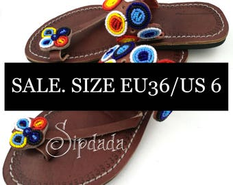 SALE! Maasai sandals, African sandals, leather sandals, beaded sandals, beach sandals (20 % off)