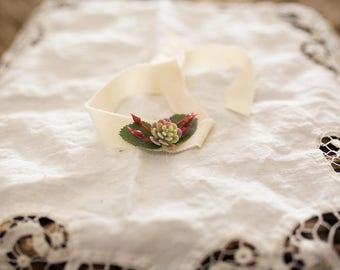 Cream Succulent Tieback | Newborn Tieback